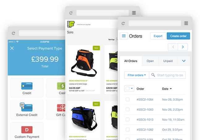 Screenshots showing mobile version of Shopify