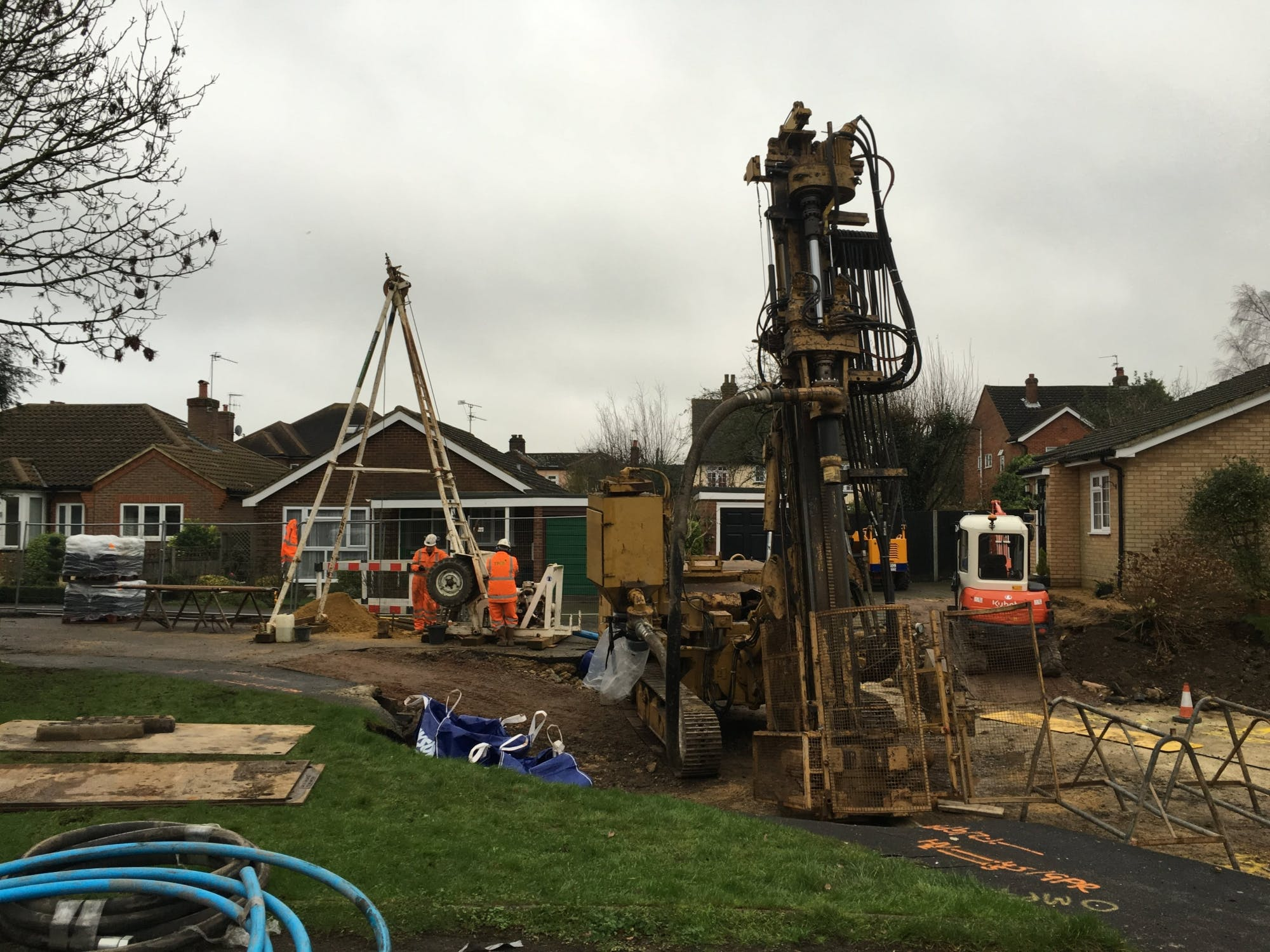 Ground investigation works underway at Fontmell Close, St Albans following the infilling of the crown hole with 500 cubic metres of foamed concrete (Courtesy of Peter Brett Associates LLP)