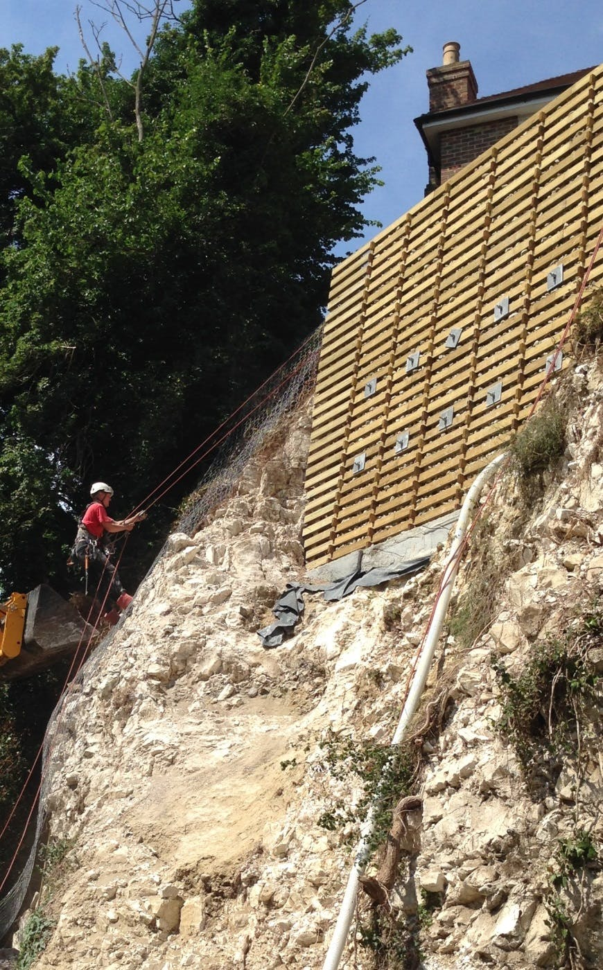 Remedial slope repairs to stabilise a failed chalk slope (Courtesy of Peter Brett Associates LLP)