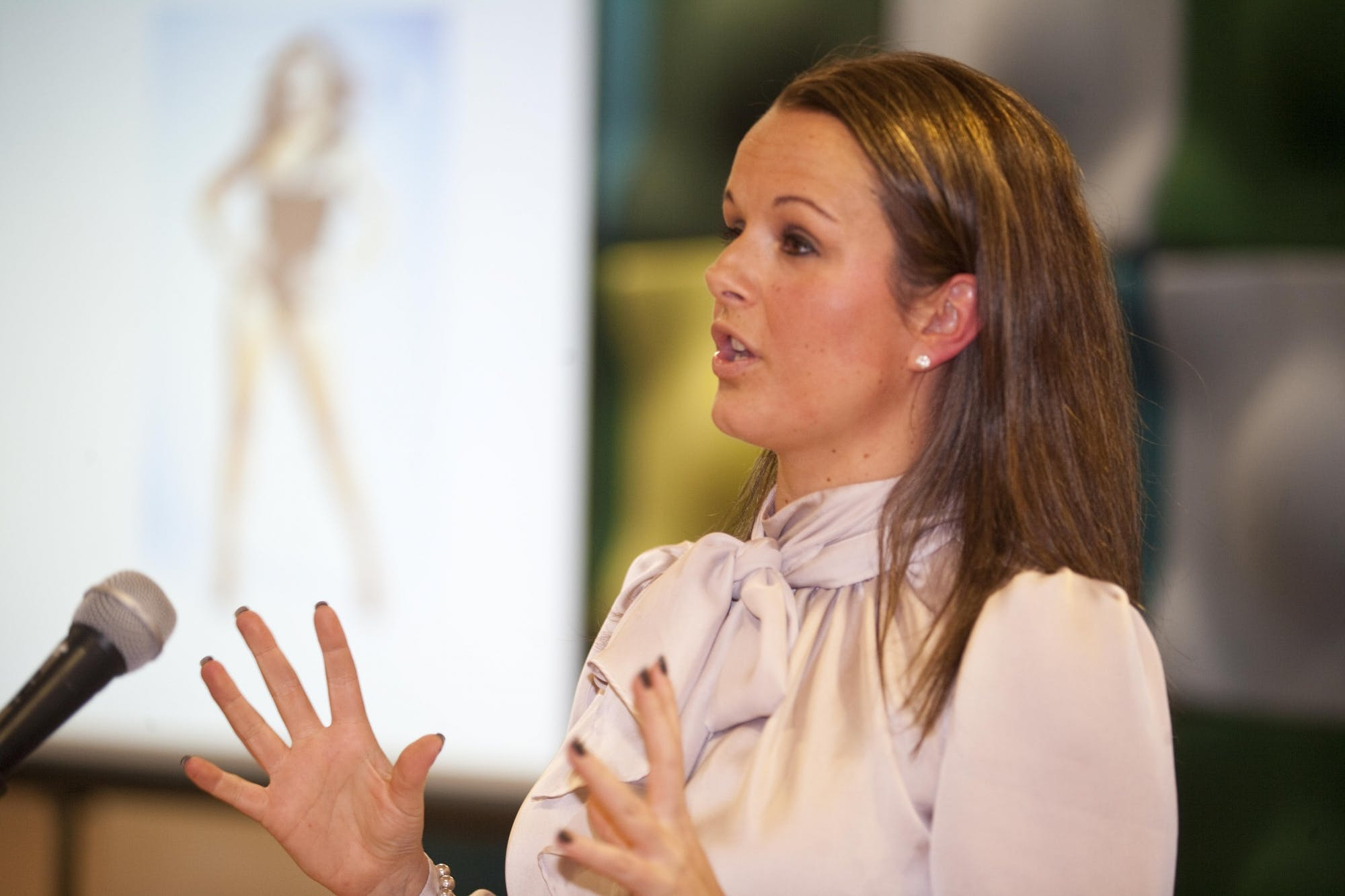 Claire speaking at a  'Forward Ladies' event