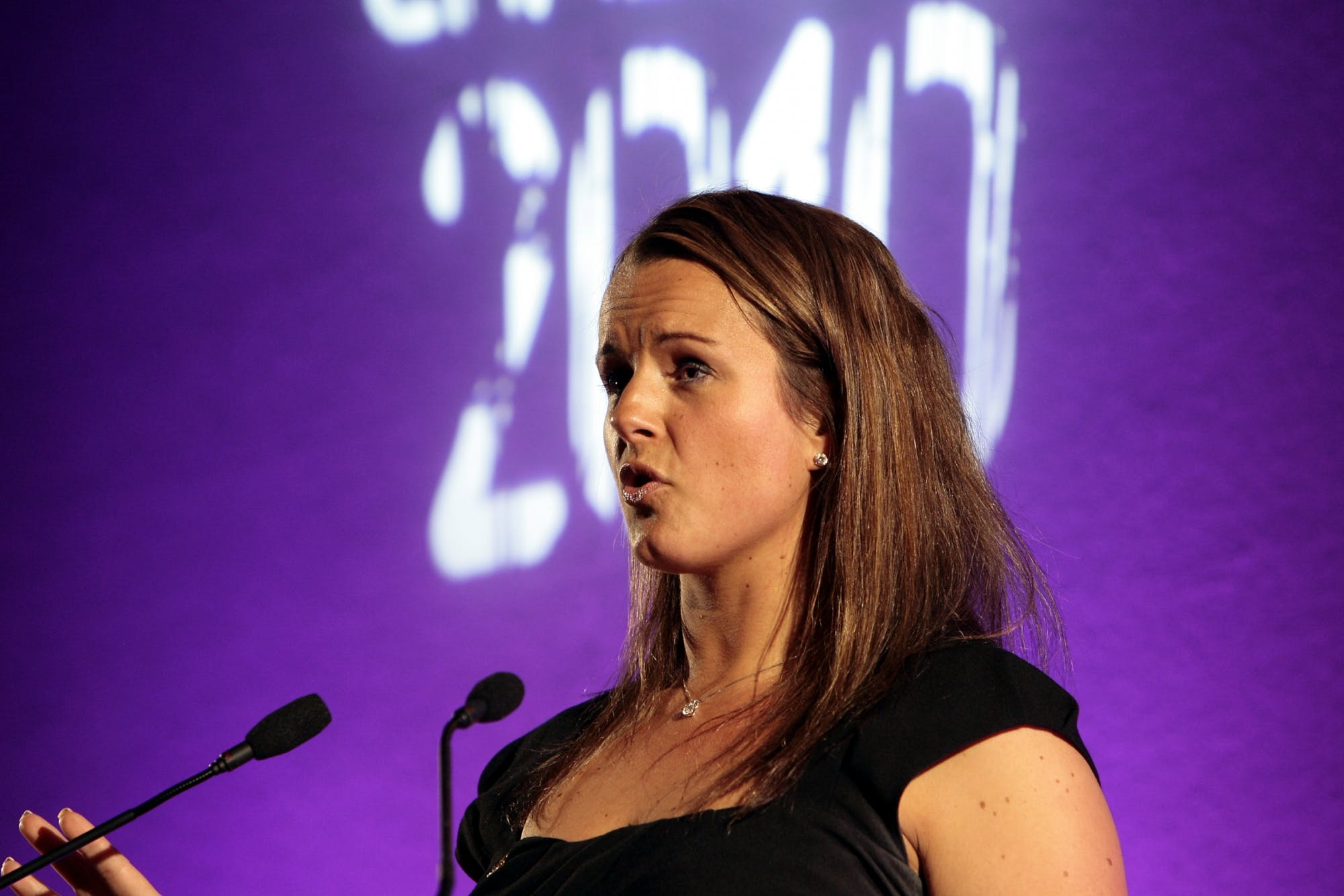 Claire speaking at the 'Big Challenge Awards'