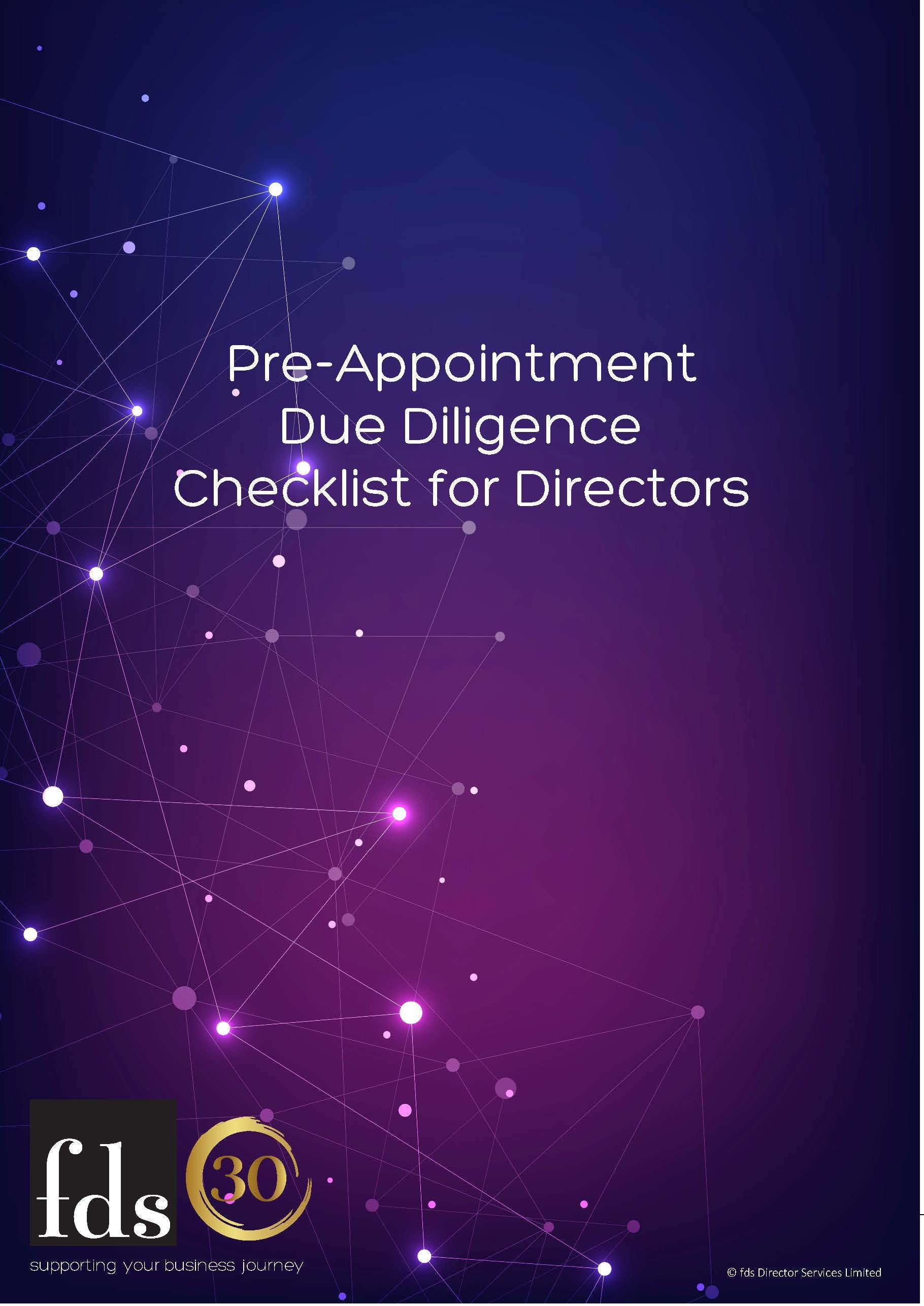 fds Free Resource - Pre-Appointment Due Diligence Checklist for Directors