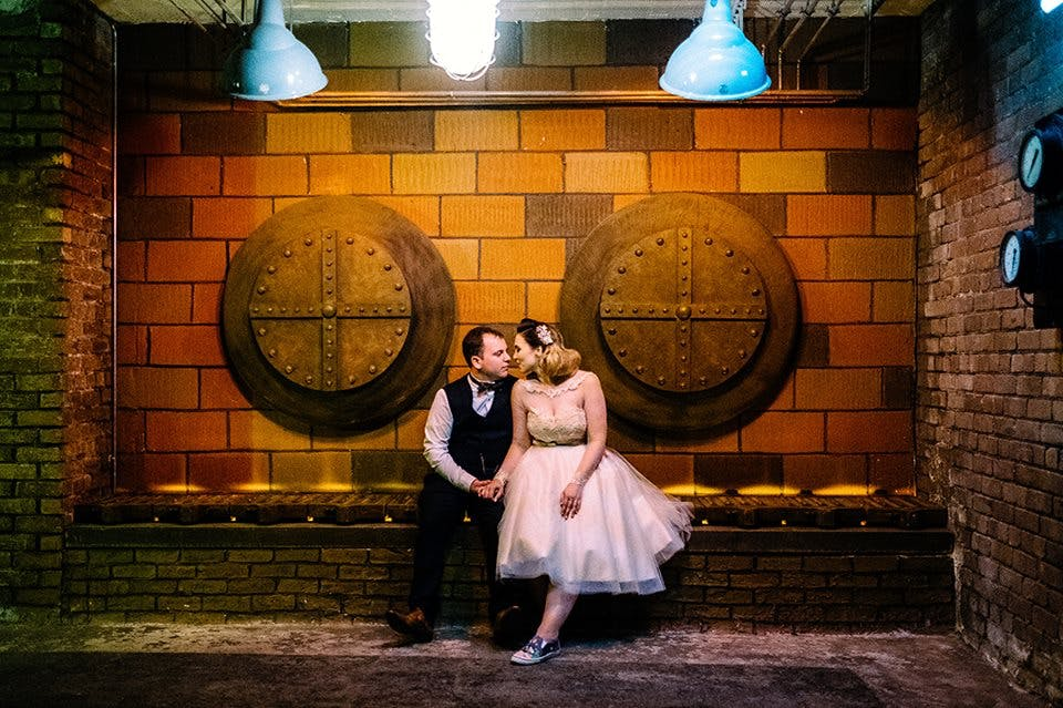 We love Megan's Urban Industrial styled wedding and her exquisite dress 'Lily' in blush pink by House of Mooshki.