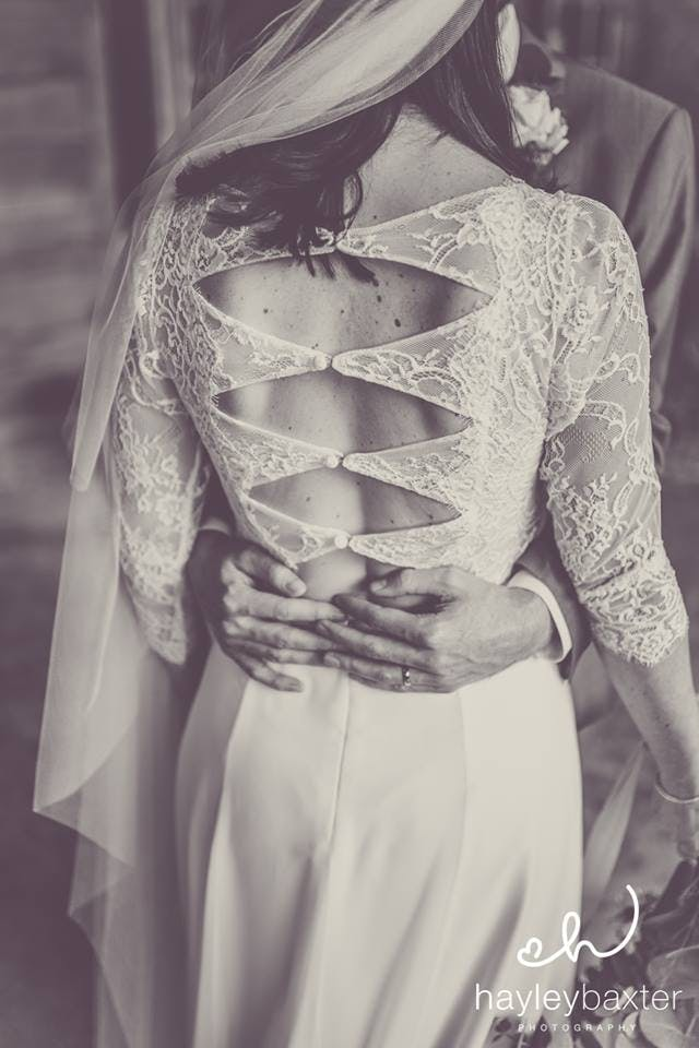 That back! Beautiful Alice wearing 'Arcange' by Rembo Styling. Image by Hayley Baxter Photography.