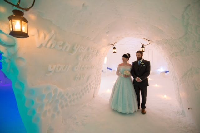 The most phenomenal wedding, beautiful Amy got married at the Ice Palace in Lapland wearing a bespoke 'Flora'  in duck egg blue by House of Mooshki.