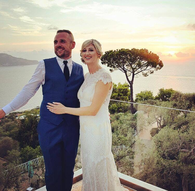We love this image of Carrie wearing the exquisite champagne coloured 'Dixie' by Claire Pettibone, the tones of gold match the sunset perfectly!