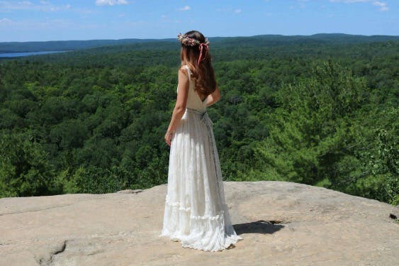That view! Laura's stunning Canadian Destination wedding wearing 'Savannah' by Claire Pettibone