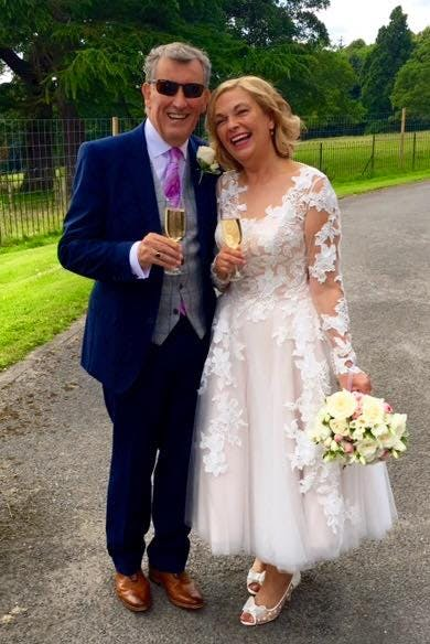 We loved this gorgeous couple. Beautiful Gail wore 'Charlotte' by House of Mooshki in subtle tones of blush pink.