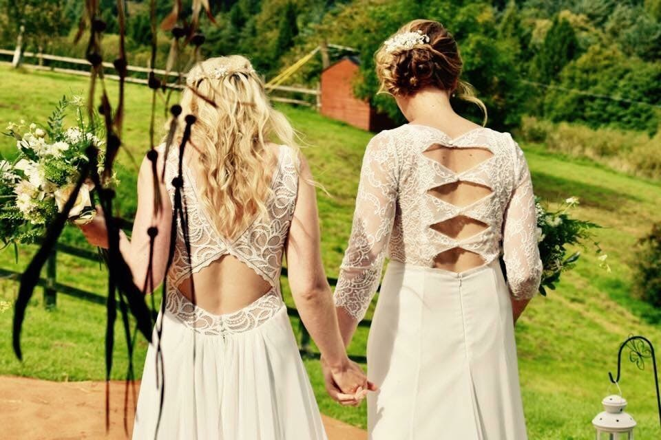 Beautiful #Lacebrides Lottie and Gemma both wearing Rembo Styling gowns 'First' and 'Arcange'.