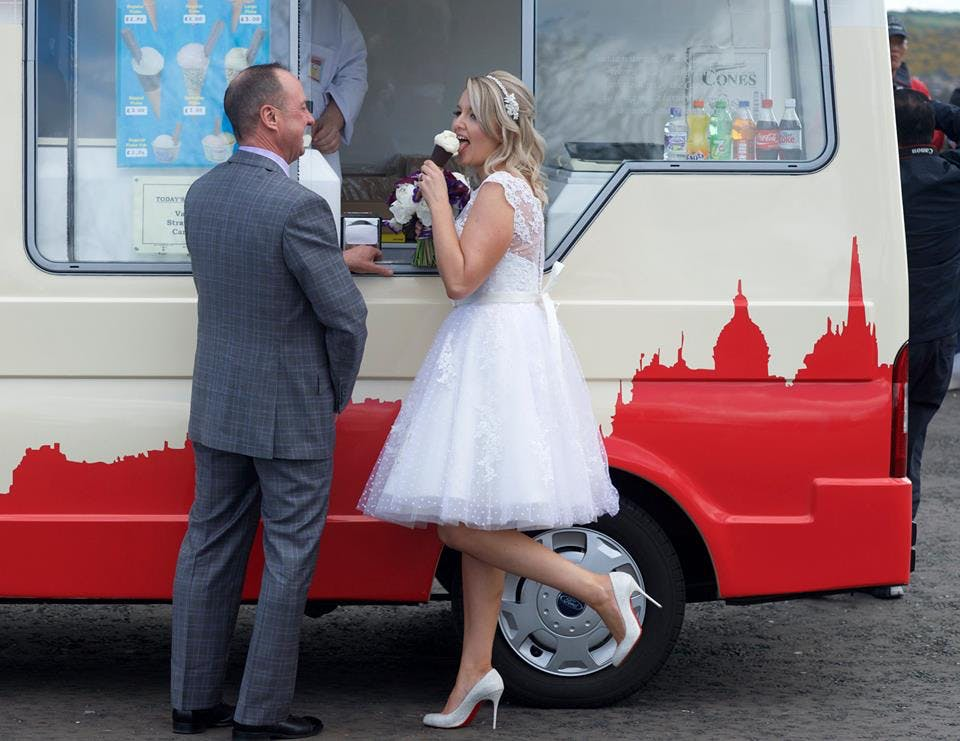 Sometimes you just need an ice-cream. Beautiful Janine wearing 'Claire' by House of Mooshki for her wedding in Edinburgh