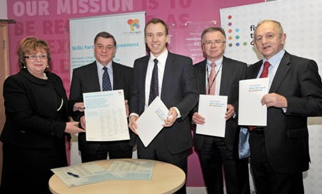 Skills Minister Matthew Hancock (centre) with Michele Sutton and members of the Local Enterprise Partnership