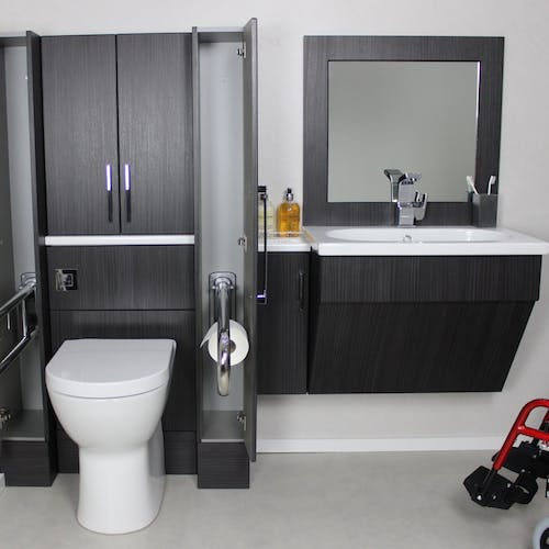 Make your adaptation safer with accessible bathroom storage and furniture solutions.