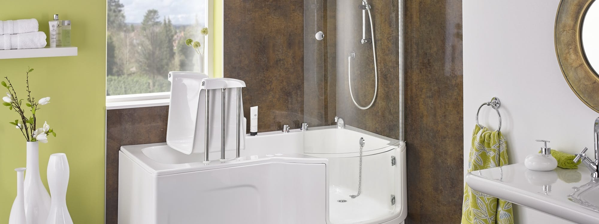stylish and accessible bathrooms; designed and installed