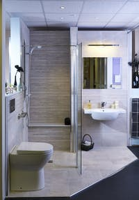 Stylish, easy access bath & shower rooms on display at our showroom.