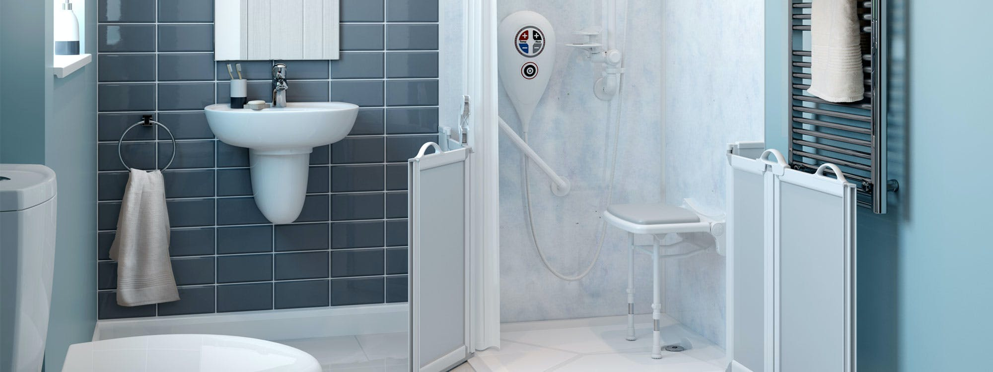 At More Ability we've been specialising in the design & installation of disabled bathrooms for over 50 years. With us, you'll discover a comprehensive range of level access disabled showers and disabled shower solutions that cater for walk-in, wheel-in or zimmer-in access.