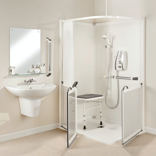 Remain independent at home with a disabled shower solution; height adjustable, carer assisted & hoist support systems we design & fit in Leeds & Harrogate.