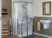 Mobility level access shower solution for the elderly and less-abled.