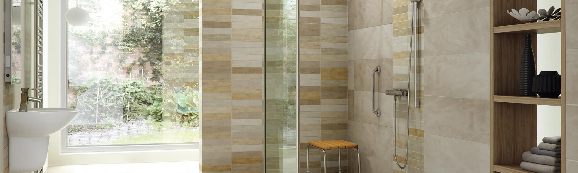 stylish wet floor shower solution