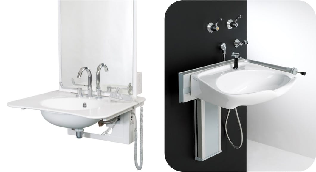 Flexible in height, adjustable rise & fall disabled basins lend themselves perfectly to a number of specific needs, requirements and users.  They can be raised & lowered to a height difference of approx. 450 mm meaning a user can remain stood upright, eliminating the need to bend, or use the basin seated and in a wheel chair, for example.