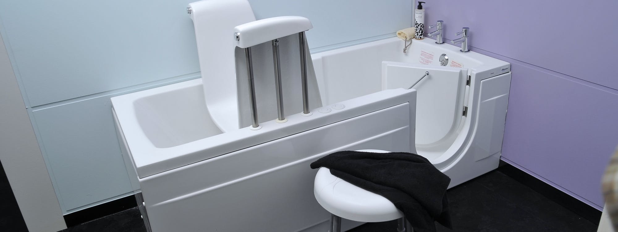 Visit our disabled bathroom showroom in Leeds and discover a wide range of elderly walk-in baths - we design, supply & install.