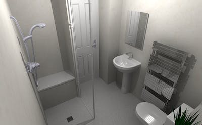 stylish & accessible wet floor shower; designed, supplied & installed
