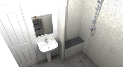 Professional advice, survey expertise and a keen eye for achieving a practical design resulted into a future proofed stylish and accessible wet floor shower solution.