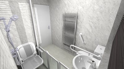 A future proofed wet floor shower design that would offer long-lasting safety, regardless of any deteriorating circumstances.