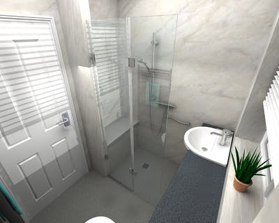 Accessible Wet Floor Shower With Corian Bench