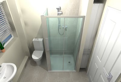 Low level walk-in shower - designed, supplied & installed