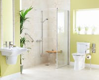 Shower Room with Diagonal and fold down grab rail