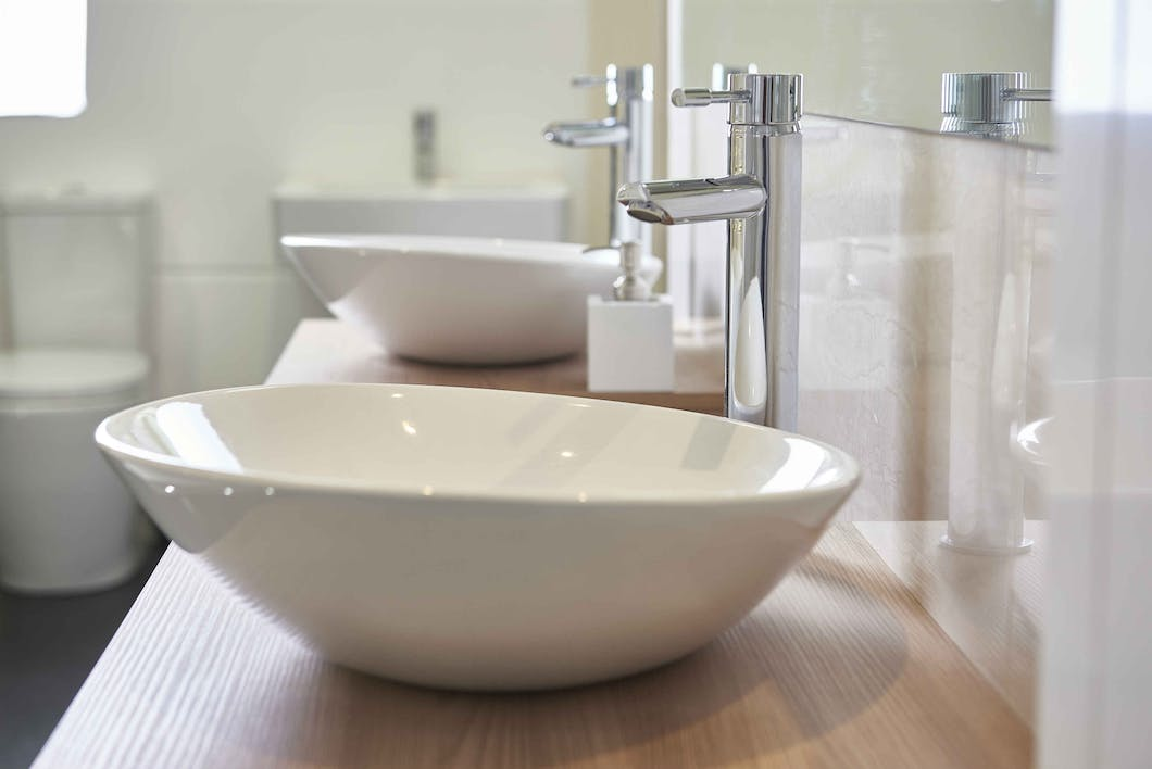 At our Leeds Bathroom Showroom we have a number of modern bathroom fixtures on display, like these teardrop his and hers basins.