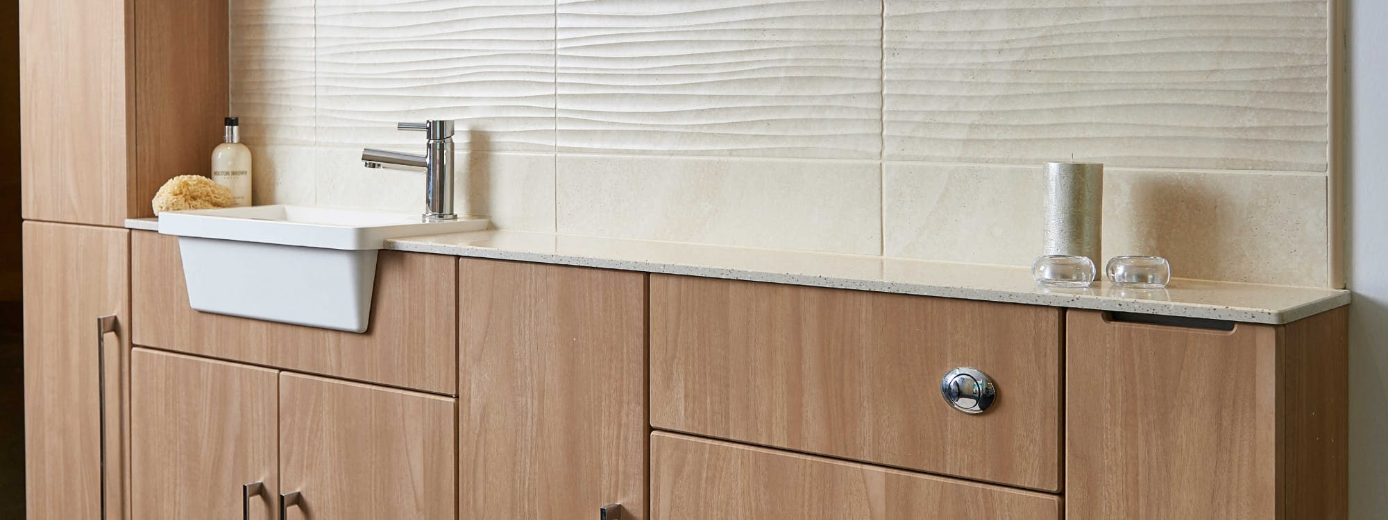 At our Leeds Bathroom Showroom you will discover a wide selection of bathroom storage and fitted furniture.