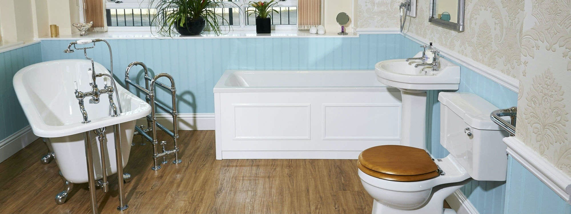 At out Leeds Bathroom Showroom we have a dedicated traditional bathroom area which features a variety of traditionally styled showers, baths, basins & WC's.