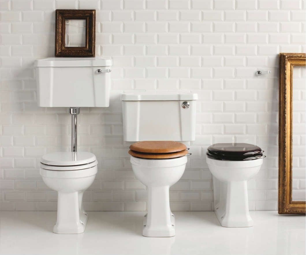 Low rise, mid rise and high rise WC's with wooden seats are a traditional bathroom must have.