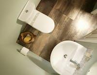 Birds eye view under stairs toilet