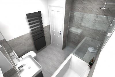 Family Bathroom with Wet Floor Shower