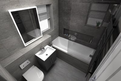 Luxury Bathroom Suite with grey ceramic tiles