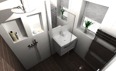 stylish, space enhancing, transformation of an en-suite shower room in Leeds.