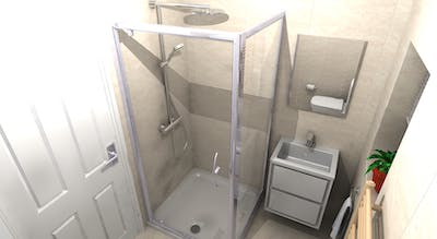 A small and inaccessible bathroom was transformed into a spacious, warm and stylishly future proofed low level access shower room.