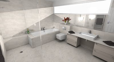 a modern and minimalistic bathroom and en-suite renovation.