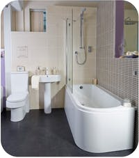 New modern bathroom area in our showroom - morebathrooms leeds