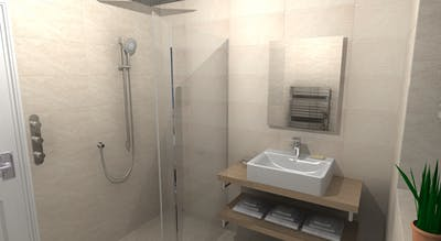 A modern & minimalistic en-suite shower room - design, supplied & installed.