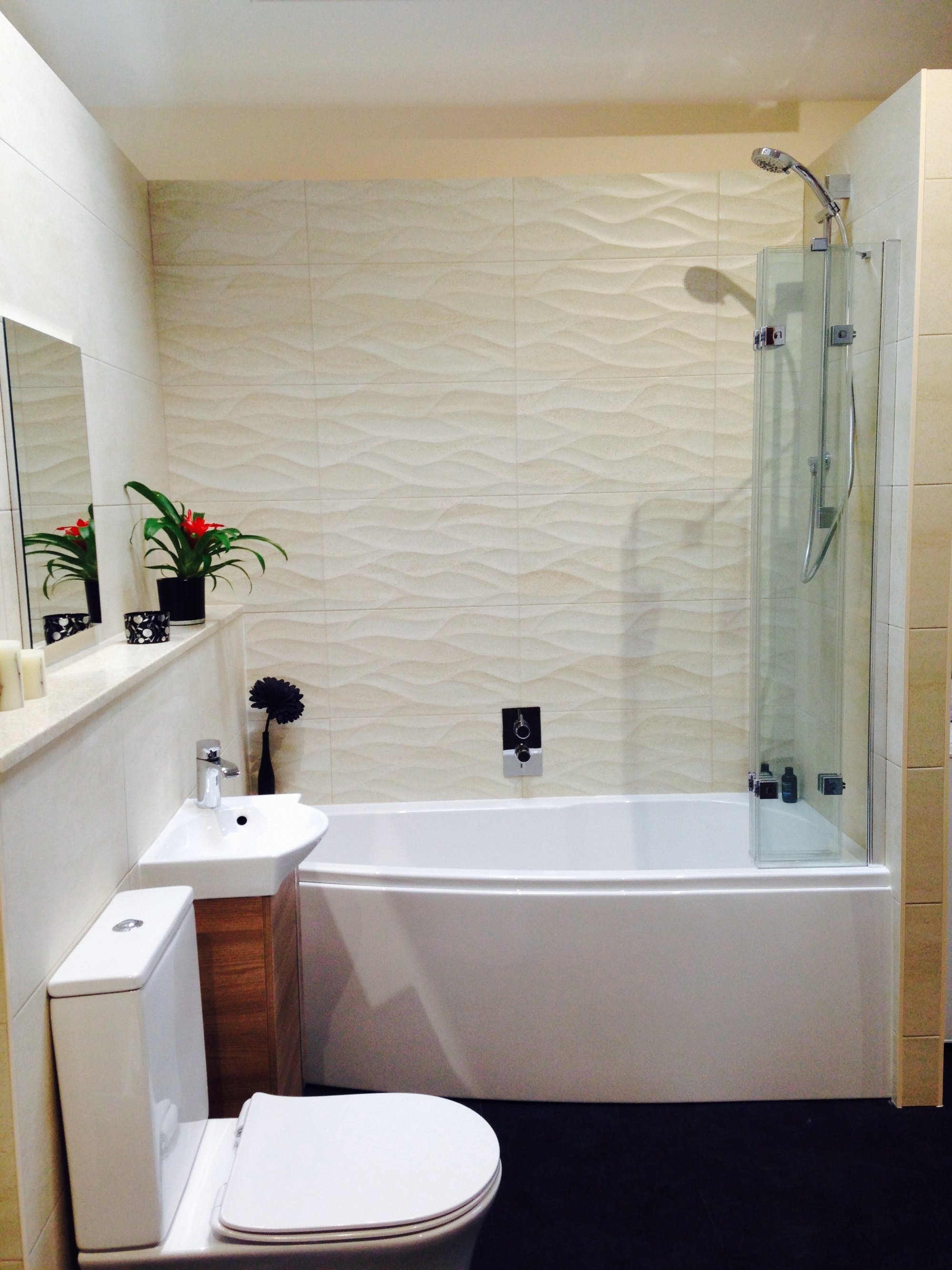 Help advice new small compact bathroom display in our showroom Bathroom design shower over bath