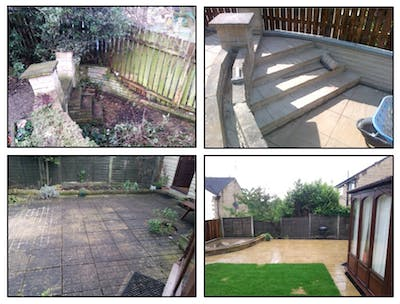 fully project managed extensive external alterations including ground works, drainage & re-turf, fencing & patio