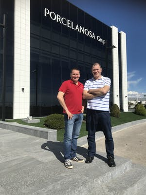 Passmore Group Directors, Tony & Steve Passmore outside Porcelanosa manufacturing facilities in Valencia, Spain.