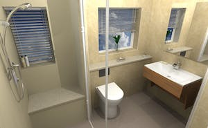 A fully accessible yet stylishly maintained shower room.