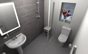 a bath to wet floor shower room conversion that was stylish in appearance yet functional in use