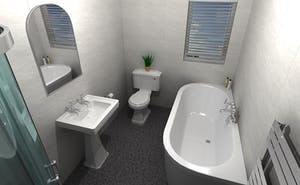 a well-executed traditionally modern 4 piece bathroom suite.