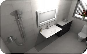 the ultimate mobility bathroom suite.