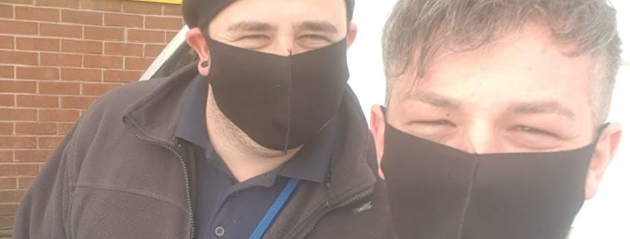 Gas engineers in masks